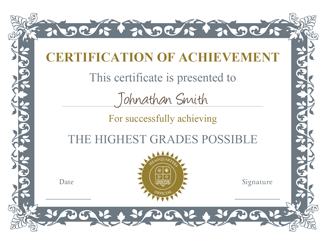 Certificates of Achievement 01